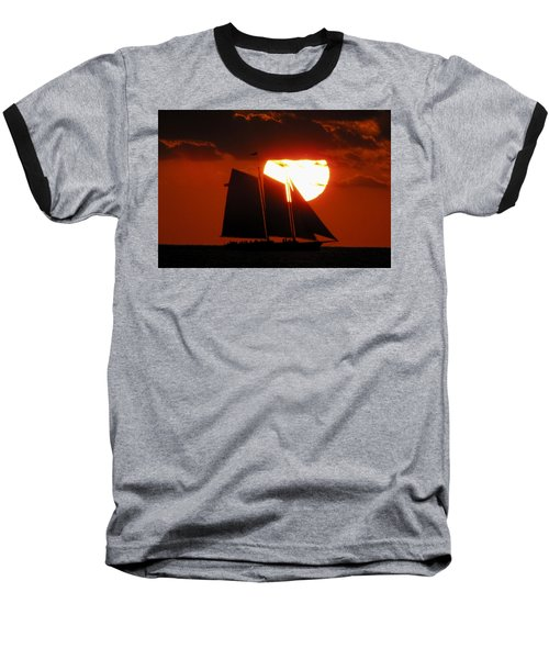 Key West Sunset Sail 5 Baseball T-Shirt
