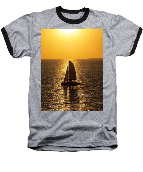 Baseball T-Shirt featuring the photograph Sunset Sail by Jennifer Wheatley Wolf