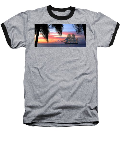 Sunset Sailboat Filtered Baseball T-Shirt