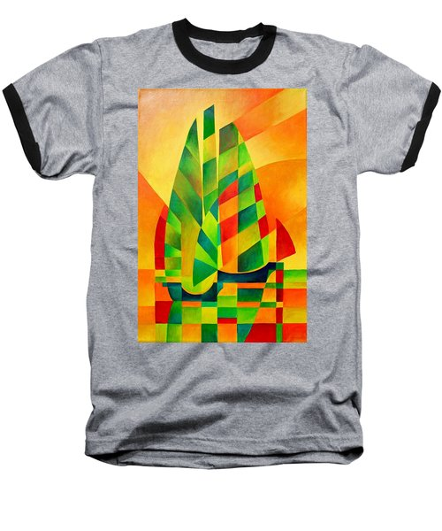 Baseball T-Shirt featuring the painting Sunset Sails And Shadows by Tracey Harrington-Simpson