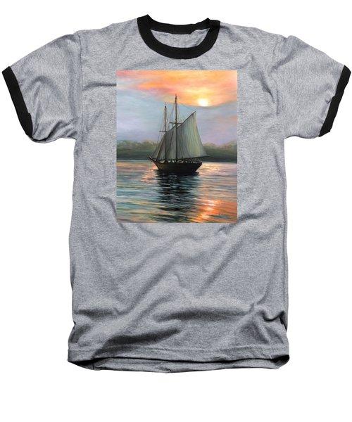 Sunset Sails Baseball T-Shirt by Eileen Patten Oliver