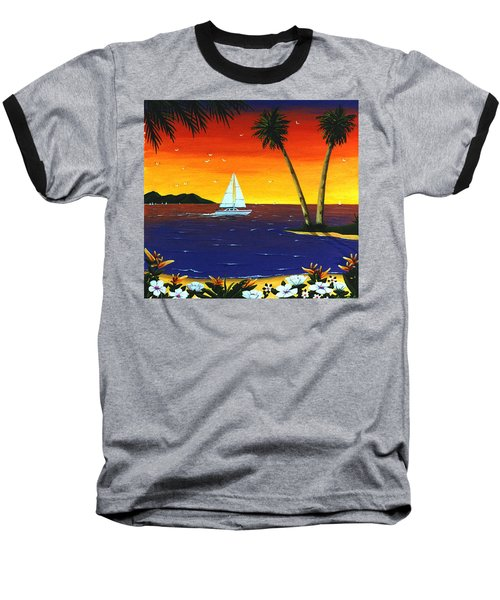 Baseball T-Shirt featuring the painting Sunset Sails by Lance Headlee