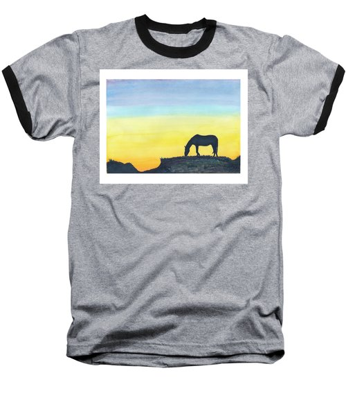 Baseball T-Shirt featuring the painting Sunset Silhouette by C Sitton
