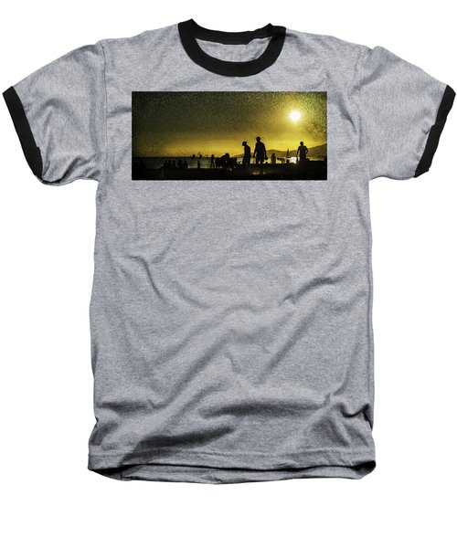 Baseball T-Shirt featuring the photograph Sunset Silhouette Of People At The Beach by Peter v Quenter