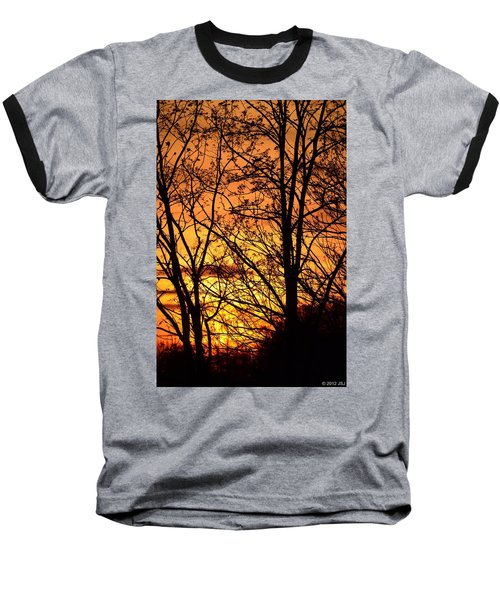Sunset Silhouettes Behind The George Washington Masonic Memorial Baseball T-Shirt by Jeff at JSJ Photography
