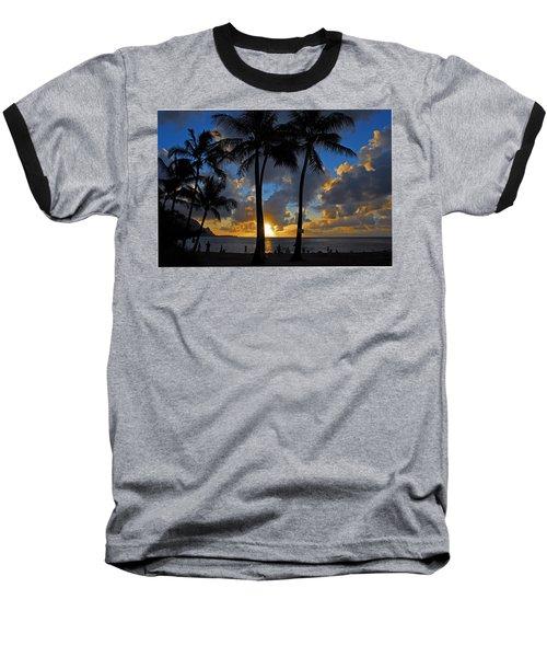 Sunset Silhouettes Baseball T-Shirt by Lynn Bauer