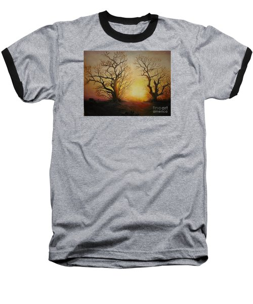 Baseball T-Shirt featuring the painting Sunset by Sorin Apostolescu