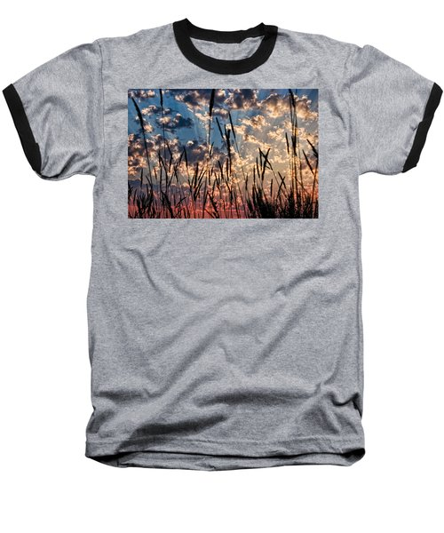 Baseball T-Shirt featuring the photograph Sunset Through The Grasses by Don Schwartz