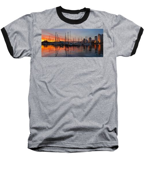 Baseball T-Shirt featuring the photograph Sunset View From Charleson Park In Vancouver Bc by JPLDesigns