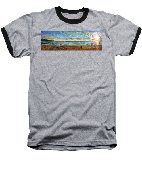 Sunset Volleyball At Old Silver Beach Baseball T-Shirt by Rita Brown