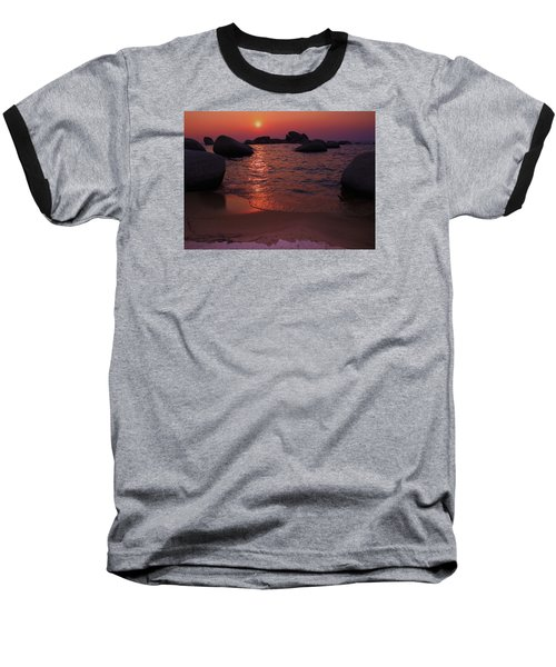 Baseball T-Shirt featuring the photograph Sunset With A Whale by Sean Sarsfield