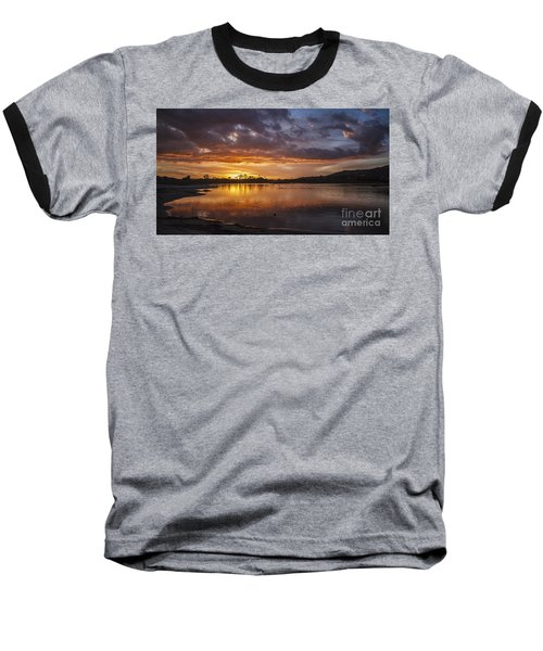 Sunset With Clouds Over Malibu Beach Lagoon Estuary Baseball T-Shirt
