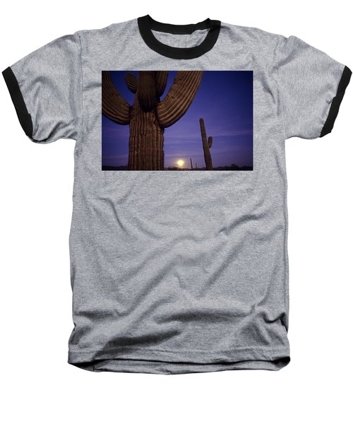 Sunset With Moonise Behind Saguaro Cactus In Desert Southwest Ar Baseball T-Shirt