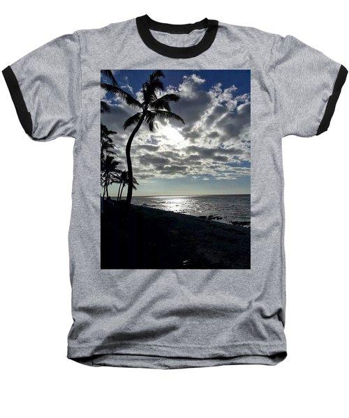 Sunset With Palm Trees Baseball T-Shirt by Pamela Walton