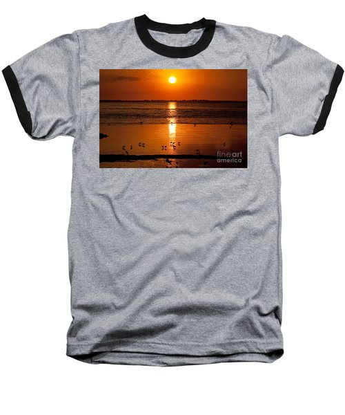 Baseball T-Shirt featuring the photograph Sunset With The Birds Photo by Meg Rousher