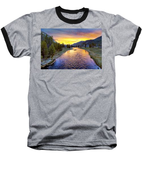 Sunset Yellowstone National Park Madison River Baseball T-Shirt