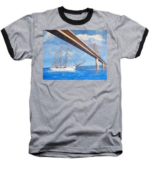 Sunshine Skyway Bridge  Baseball T-Shirt by Catherine Swerediuk