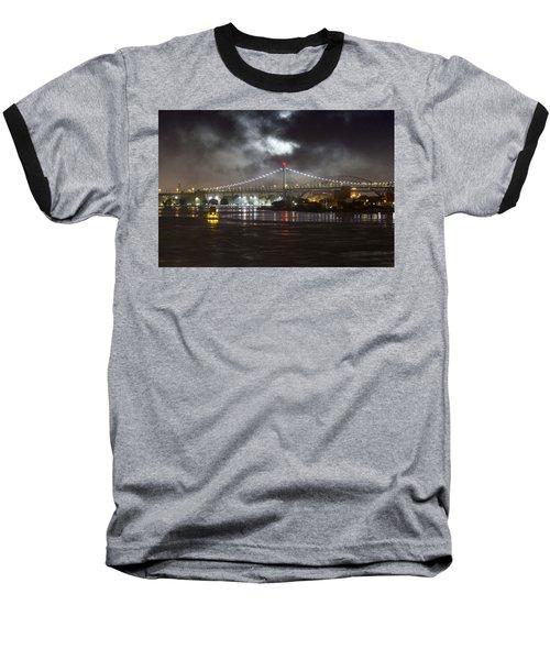 Super Moon And Triboro Bridge Baseball T-Shirt