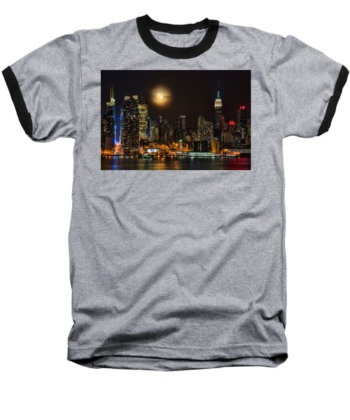 Super Moon Over Nyc Baseball T-Shirt by Susan Candelario