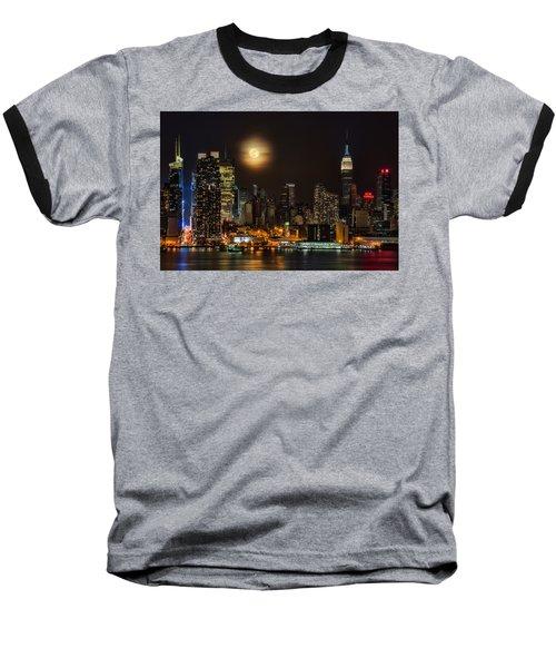 Super Moon Over Nyc Baseball T-Shirt
