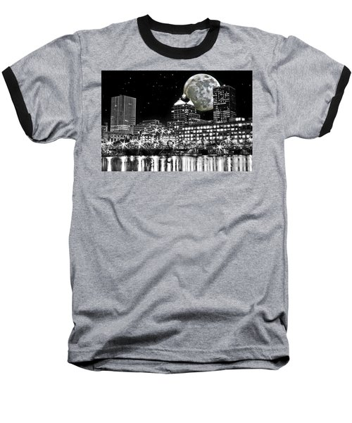 Super Moon Over Rochester Baseball T-Shirt by Richard Engelbrecht