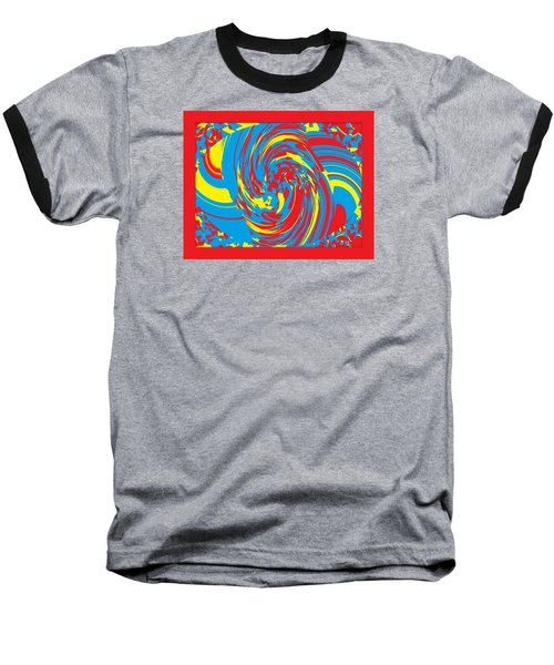 Baseball T-Shirt featuring the painting Super Swirl by Catherine Lott