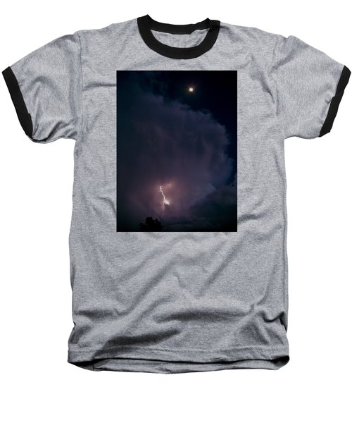 Supercell Moon Baseball T-Shirt by Ed Sweeney