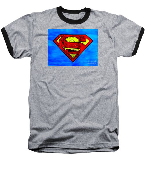 Superman And Doomsday R Y D Baseball T-Shirt by Justin Moore