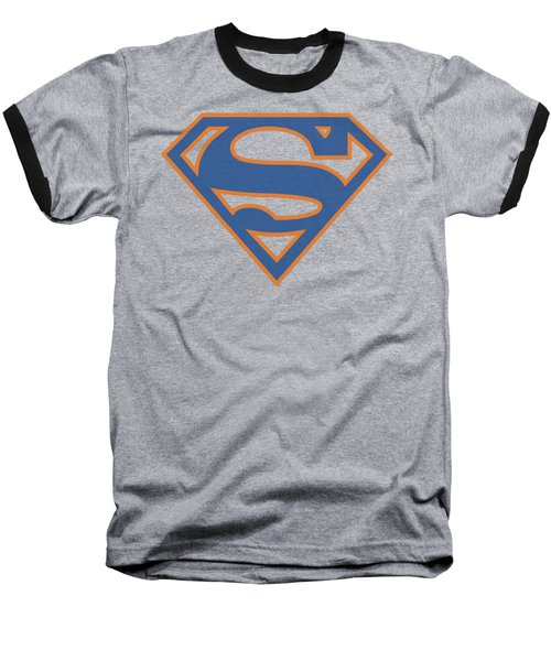 Superman - Blue And Orange Shield Baseball T-Shirt