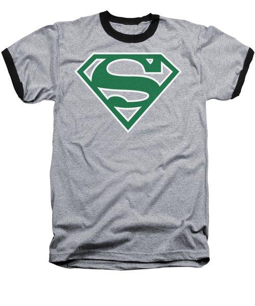 Superman - Green And White Shield Baseball T-Shirt