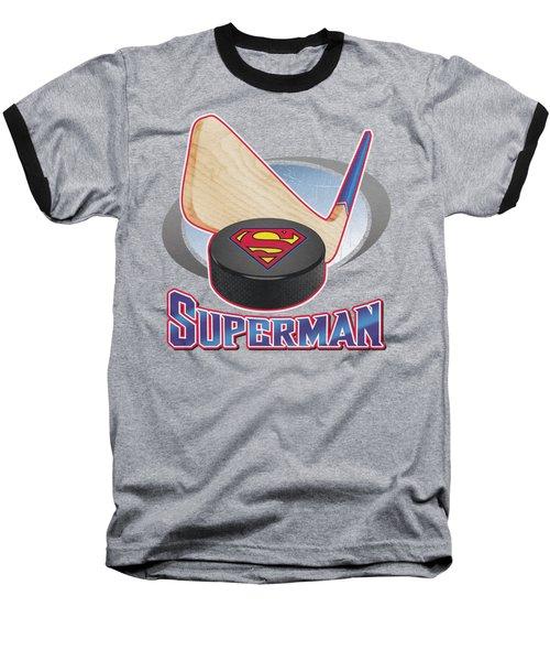 Superman - Hockey Stick Baseball T-Shirt