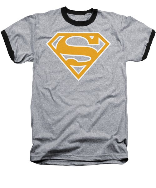 Superman - Lt Orange And White Shield Baseball T-Shirt