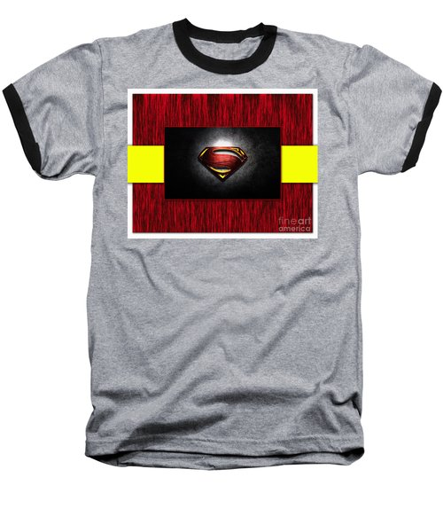 Baseball T-Shirt featuring the mixed media Superman by Marvin Blaine