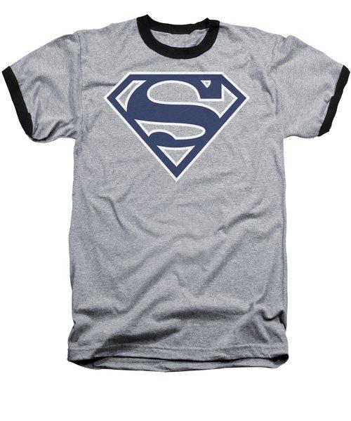 Superman - Navy And White Shield Baseball T-Shirt