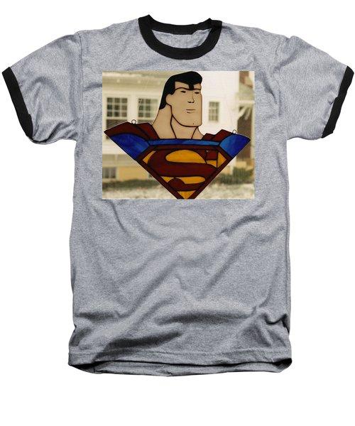Superman Panel Baseball T-Shirt by Karin Thue