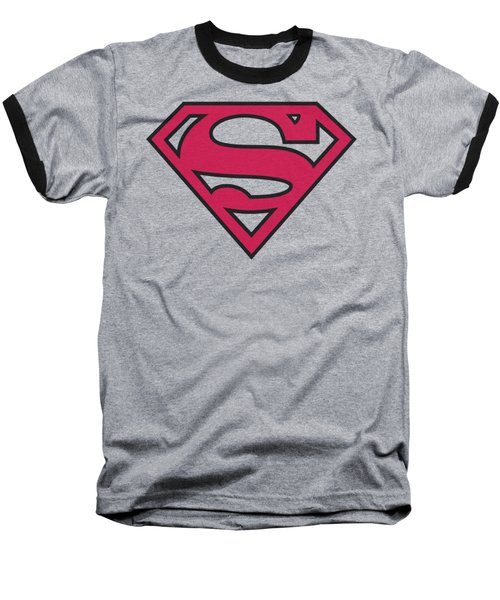 Superman - Red And Black Shield Baseball T-Shirt