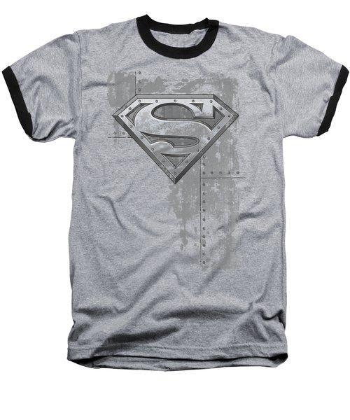 Superman - Riveted Metal Baseball T-Shirt