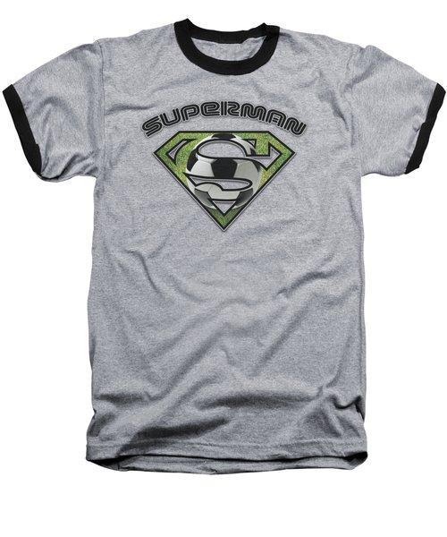 Superman - Soccer Shield Baseball T-Shirt