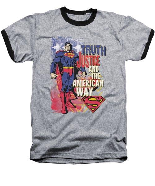 Superman - Truth Justice Baseball T-Shirt