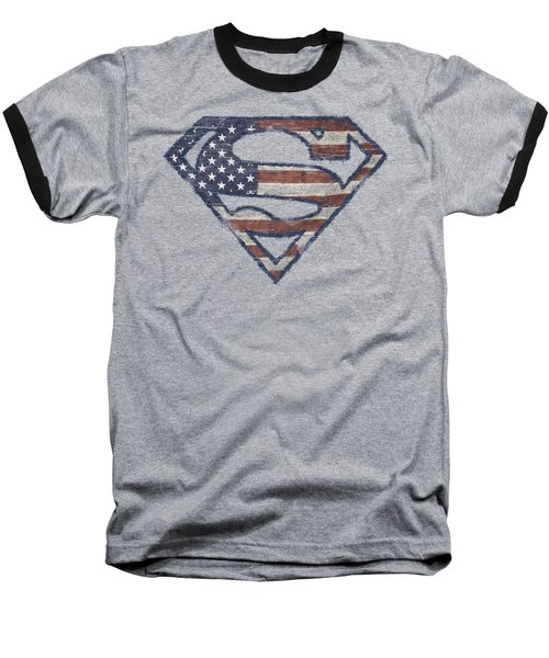 Superman - Wartorn Flag Baseball T-Shirt
