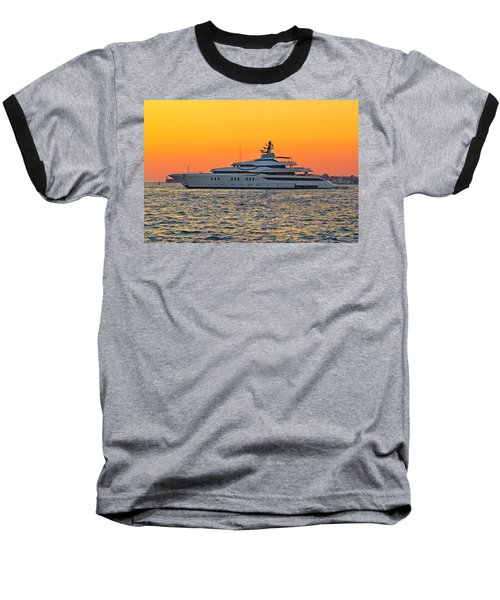 Superyacht On Yellow Sunset View Baseball T-Shirt by Brch Photography