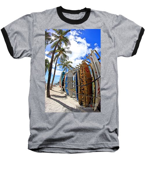 Surf And Sun Waikiki Baseball T-Shirt