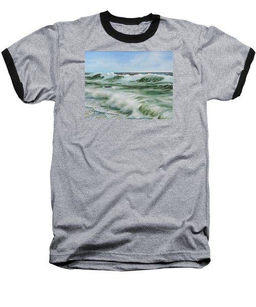 Baseball T-Shirt featuring the painting Surf At Castlerock by Barry Williamson