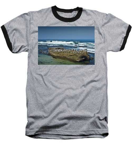 Surf Waves At La Jolla California With Gulls Perched On A Large Rock No. 0194 Baseball T-Shirt