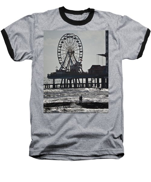 Surfer And Lovers At Pleasure Pier Baseball T-Shirt