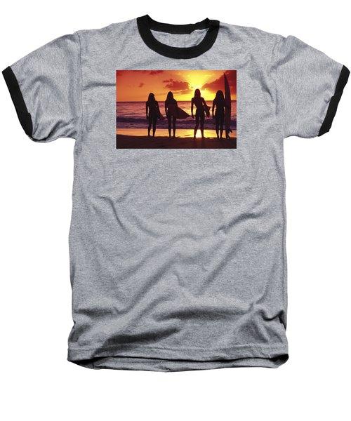 Surfer Girl Silhouettes Baseball T-Shirt