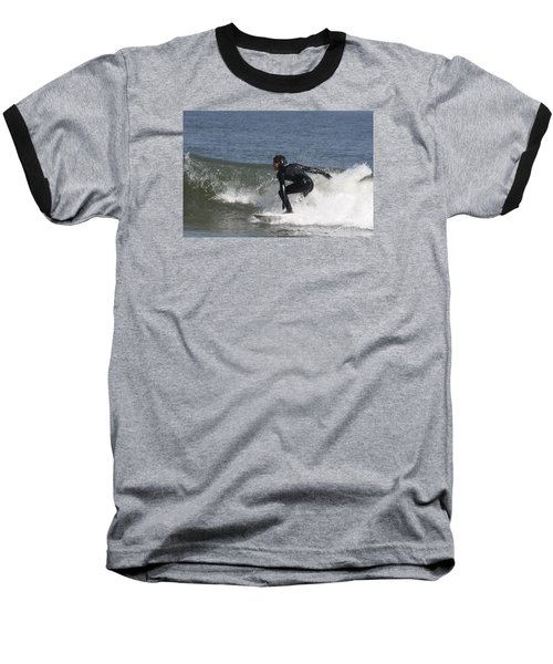 Baseball T-Shirt featuring the photograph Surfer Hitting The Curl by John Telfer