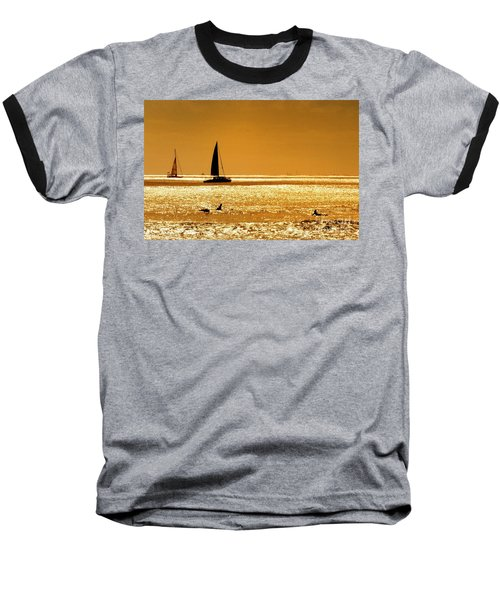 Baseball T-Shirt featuring the photograph Surfers And Sailboats by Kristine Merc