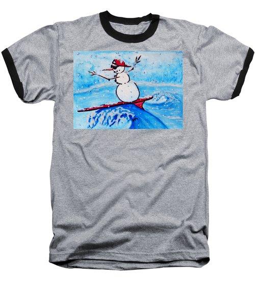 Surfing Snowman Baseball T-Shirt
