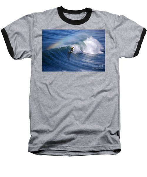 Surfing Under A Rainbow Baseball T-Shirt by Catherine Sherman